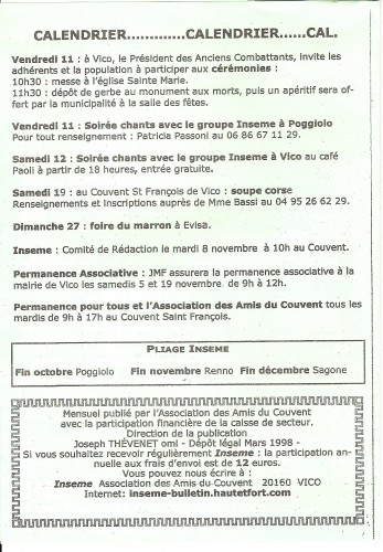 calendrier, associations, vico